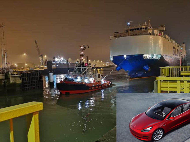 Cargo ship carrying first Tesla Model 3 units in Europe