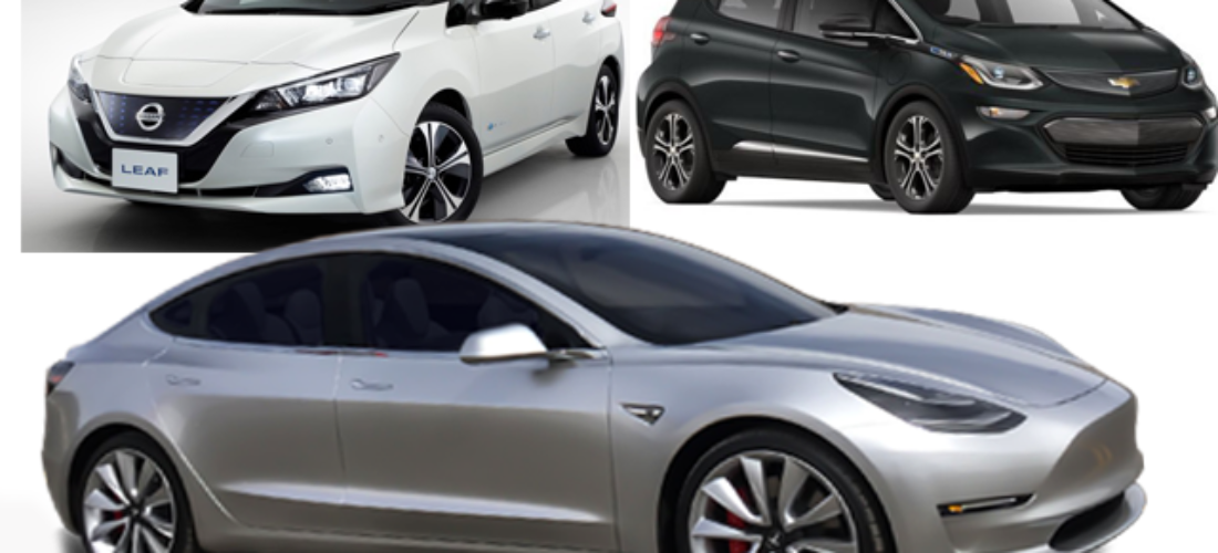 Tesla Model 3 against Chevy Bolt, Nissan Leaf in Numbers