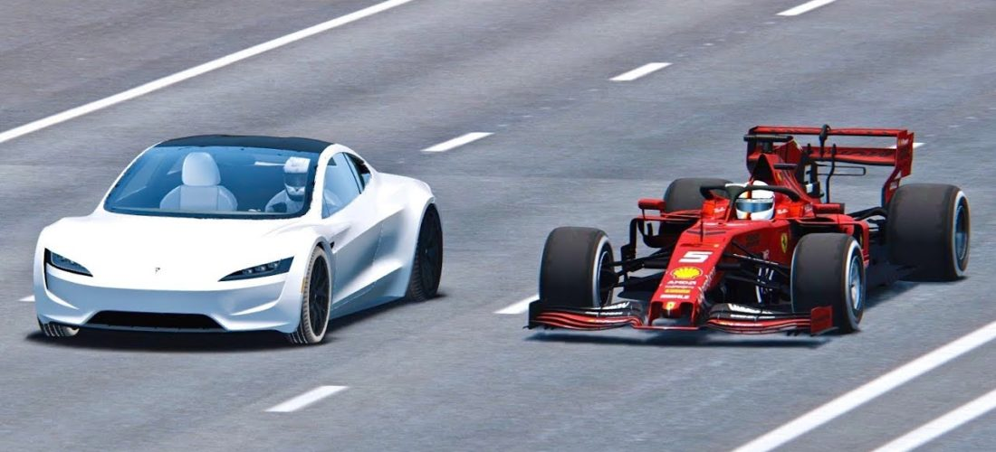 New Tesla Roadster vs Formula 1 car CGI Video