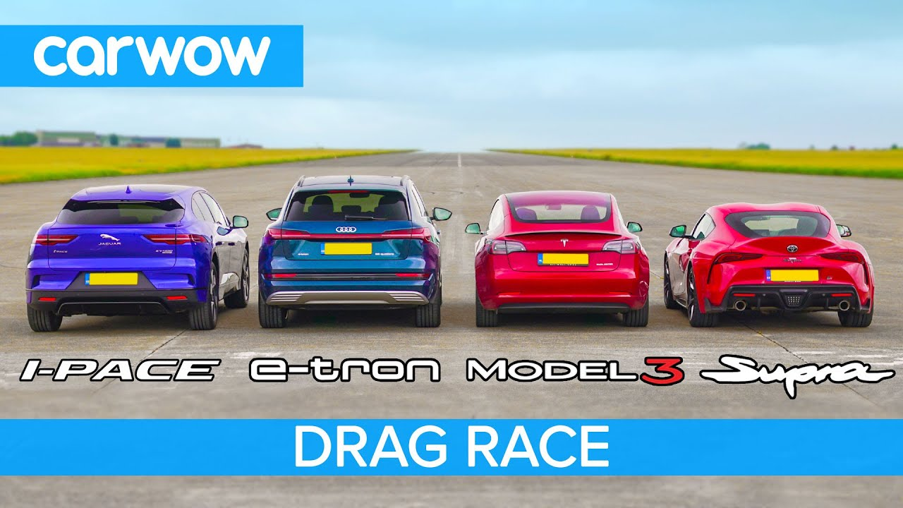Tesla Model 3 vs I-Pace vs e-tron vs SUPRA Drag Race