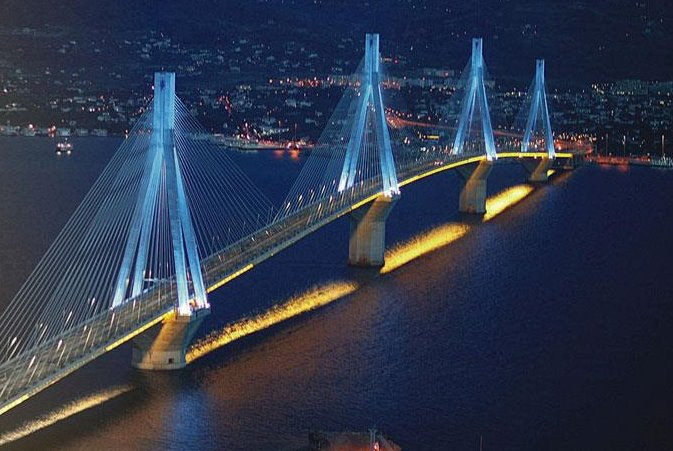 EV charging stations on the largest bridge in Greece