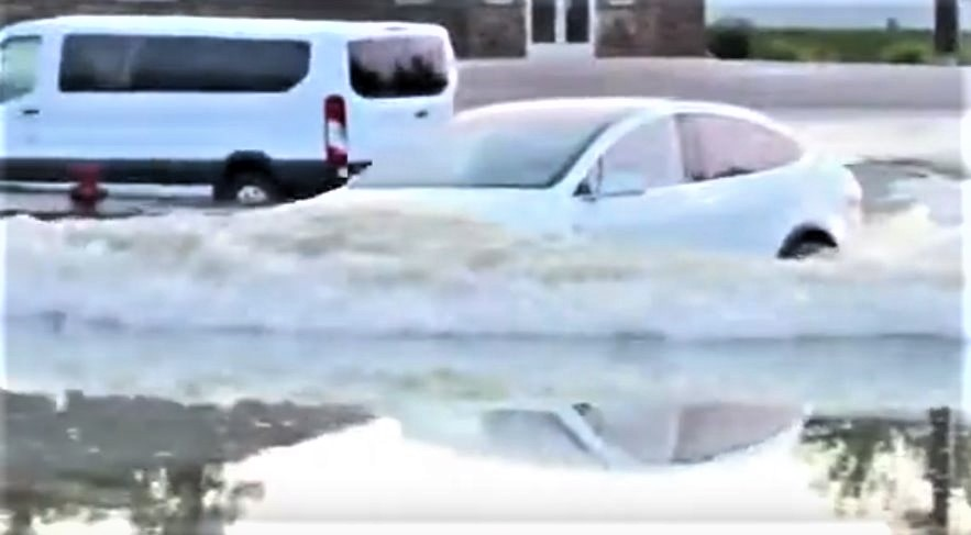Watch Tesla Model X Crossing stagnant waters