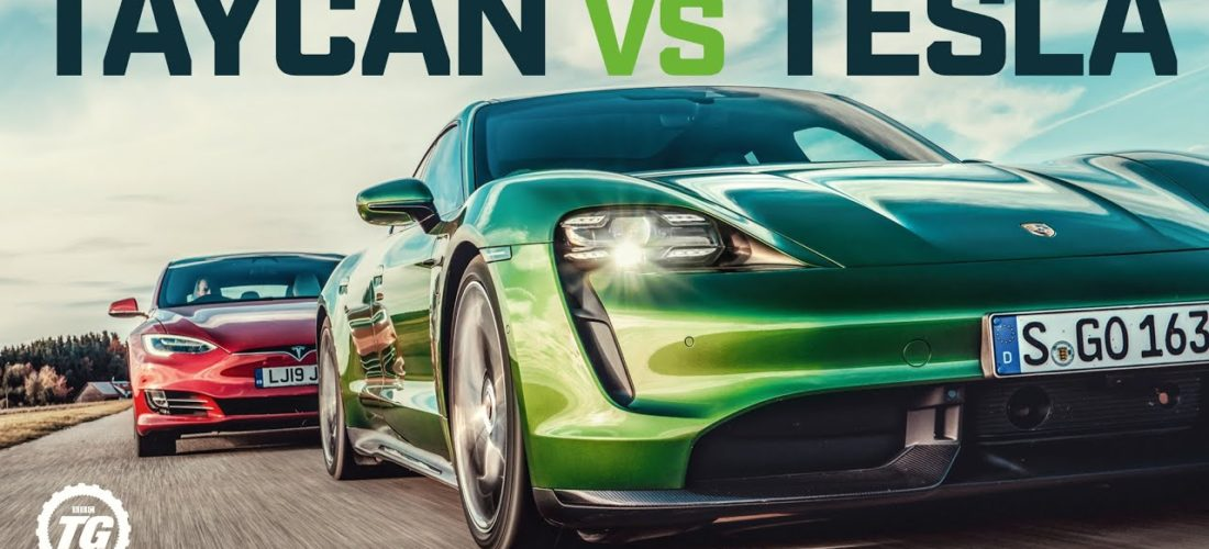 Watch Porsche Taycan Turbo S vs Tesla Model S