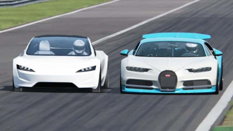 Watch Tesla Roadster vs Bugatti Chiron in Monza | CGI video