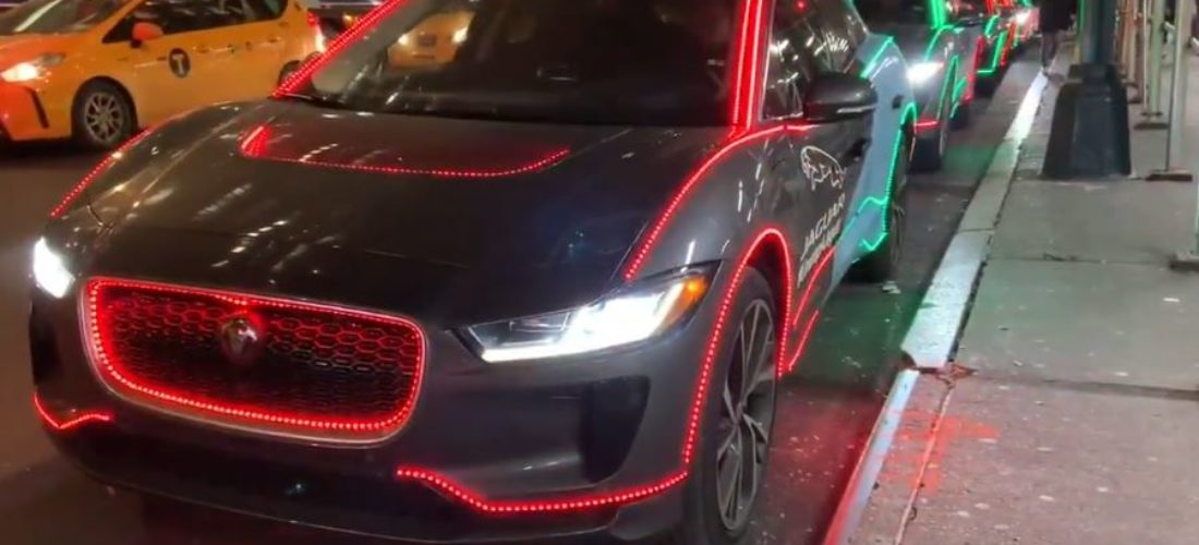 Jaguar I-Pace with Christmas mood in US