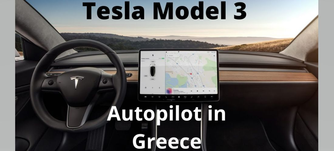 Tesla Model 3 Autopilot on country road in Greece