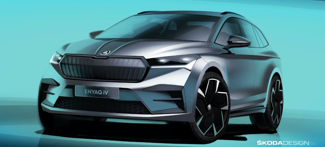 Skoda reveals the sketches of electric Enyaq iV