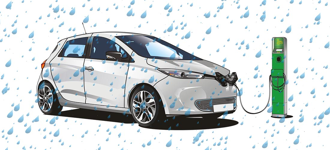 Is the electric car charging dangerous in the rain?
