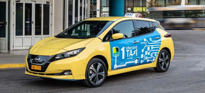 The first Nissan LEAF Taxi in Greece by Taxiplon