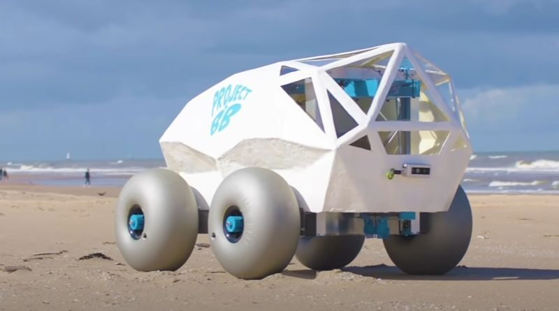 robot cleans the beaches from cigarette butts